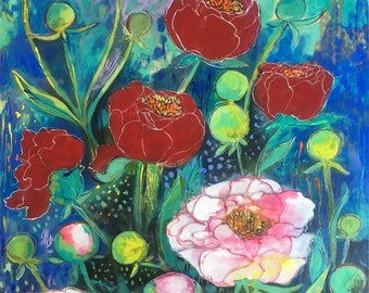 Mix Peony Garden - mixed media encaustic painting by Maria Pace-Wynters