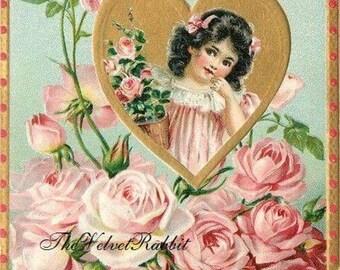 Valentine Postcards*Vintage style poscard.  Little girl in pink roses.Hand glittered.10. Envelopes.