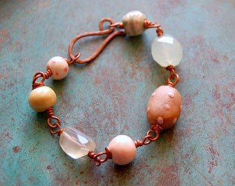 Pink and Green / Double Sided Ceramic Bead and Copper Bracelet