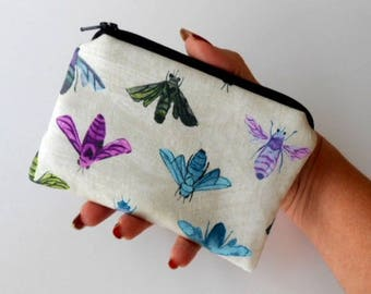 Little Zipper Pouch Padded Coin Purse ECO Friendly NEW Colorful Bees