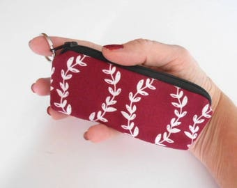 Coin Purse Mini Key Ring Zipper Pouch ECO Friendly Padded Lip Balm Case Earbud Pouch Maroon Vines