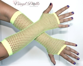 Yellow Fingerless Fishnet Gloves