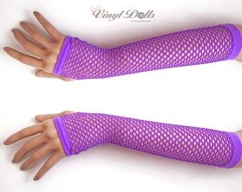 Purple Fingerless Fishnet Gloves