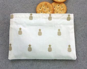 Reusable Snack bag, Sandwich bag, with gold pineapples, Summer snack bag, lunch bag for her, for kids