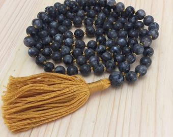 8mm Mala, Mala Necklace, Knotted Mala, Tassel Necklace, Yoga Necklace, Boho Necklace, Meditation
