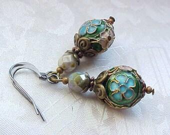 St Patricks Day Earrings Fancy Cloisonne Earrings Green Earrings Gypsy Earrings Choose Purple Red Aqua Earrings Art to Wear Earrings
