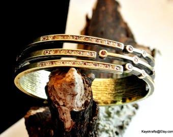Pink and Clear Rhinestone Silver Clamper Bangle Vintage Bracelet Hinged Bracelet Sleek Clamper Bangle Deco Hinged Bangle