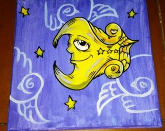 "JOS-L Original Art  12"" x 12"" Canvas Painting Pop Moon Abstract Outsider Graffiti Surreal Lowbrow Street"