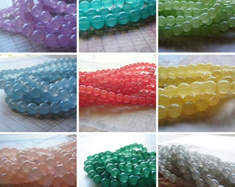 Milky Glass Beads 6 mm Round Coated 20 Beads