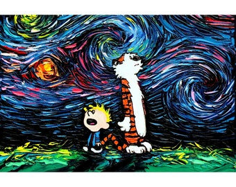 Calvin and Hobbes Art - 24x36 horizontal Starry Night print What If van Gogh Had An Imaginary Friend by Aja large print