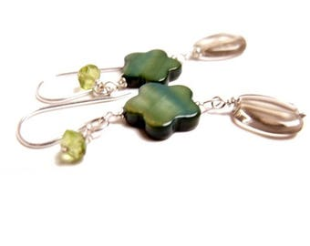 Mother of Pearl Flower, smoky quartz and green peridot dangle earrings in sterling silver, natural gemstones, long earrings, free shipping