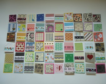 60 little mini notecards, lunch box love notes, mini shop notecards, tiny mixed lot notecards, 2 x 2 mini notecards, blank notecards, lot J3