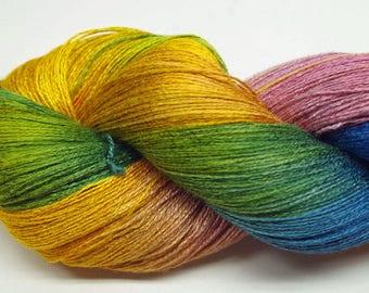 Hand painted Vivax Bamboo yarn,2.8oz, Rainbow Sherbet