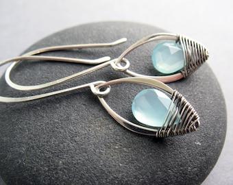 Aqua Chalcedony Earrings, Boho Earrings, Gift for Her, Delicate Earrings, Sterling Silver, Wire Wrapped, Handmade Earrings, Romantic, Petal