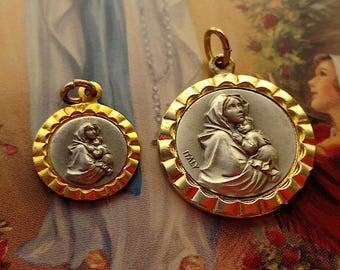 1950s Madonna of the Streets Mother Mary Set Lot Vintage Religious Medal Pendants Italy Jewelry