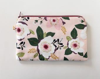 zipper pouch, cash envelope, Eyeglass case, Pen pencil, cash wallet, Cosmetic makeup bag, Pink floral bag, sunglasses case, purse organizer