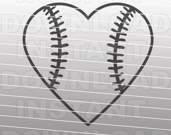 Baseball Heart SVG File Cutting Template-Single Layer Clip Art for Commercial & Personal Use -Vector Art file for Cricut,SCAL,Cameo,Vinyl
