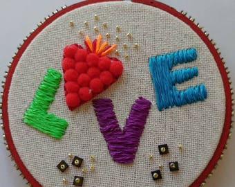 LOVE Pom Pom Embroidery Art