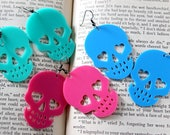 Acrylic Skull Earrings in Blue Pink Turquoise - Halloween Psychobilly Pastel Goth
