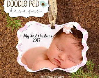 Baby's First Christmas Ornament, Personalized 1st Christmas Ornament, Photo Ornament,