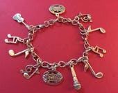 Music Charm Bracelet, Stainless Steel Chain Silvertone Charms