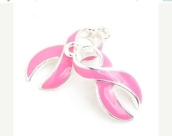 Summer Sale 23mm Pink Curved Breast Cancer Awareness Ribbon Charm - 2 Pieces - 1570
