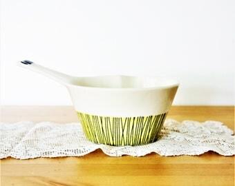 Vintage Stavangerflint Bambus Ildfast Sauce Pan, Sauce Pot, Norway, Designed by Inger Waage, Scandinavian pot ,Stavangerflint Spouted Dish
