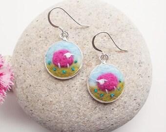 Pink Felt Sheep Earrings
