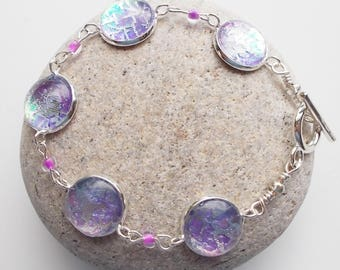 Lilac Bracelet Textile and Glass
