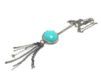 Long aqua blue sterling silver tassel necklace silver tassel necklace vintage aqua cabochon necklace blue skies from now on long ng necklace