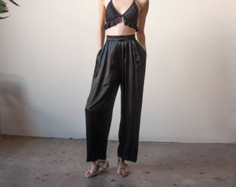 ELLEN TRACY satin baggy trousers / pleated black roomy pants / high waist pants / US 8 / 2648t / B9