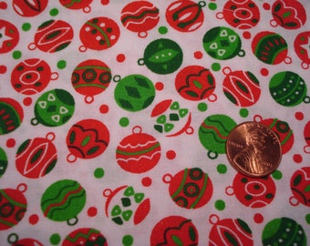 Quarter yard VINTAGE Christmas print fabric TINY ORNAMENTS Blythe doll sewing quilting crafts