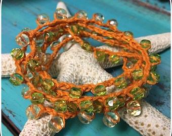 Boho Jewelry, Crochet Necklace, Crochet Bracelet, Wrap 5X Bracelet, Vintage German Glass Mix and Sterling Silver Crochet Bracelet5x/Necklace