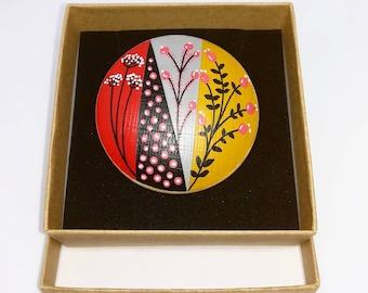 Hand painted mid century modern scandinavian style natural wood statement brooch black red ochre grey
