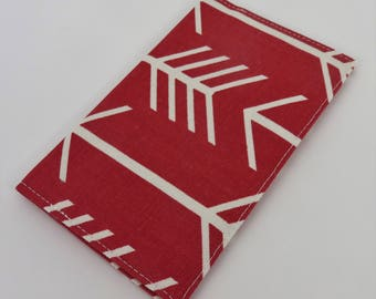 Checkbook Cover Case Cheque Book Receipts  - Large White Arrows on Timberwolf Red Fabric