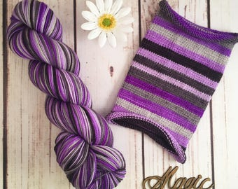 Long, Strange Trip: Hand-dyed gradient self-striping sock yarn, 80/20 SW merino/nylon