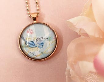 Bluebird rose gold pendant necklace / Superb Fairy Wren Pendant / rose gold jewellery / bluebird jewellery / shabby chic jewelry / pale blue