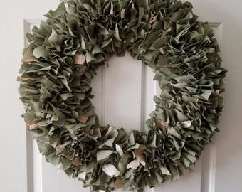 Sage Green Wreath, Rag Wreath, Rustic Wreath, Camo, Shabby Decor Round  22""