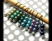 Snag Free Stitch Markers - Small Set of 10 - K65 - Shades of Purple Blue and Green Glass Pearls - Fits up to Size US 8 (5mm) Knitting Needle
