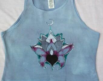 OOAK Lotus Flower Crop Top Size LARGE, Hand Painted, Screen Printed, Batik