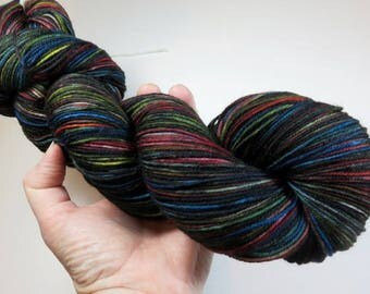 Hand Dyed Superwash Merino and Nylon 4-Ply Sock Yarn (Explicit Content) -- FUCK 2016 (Extra Dark Skein)