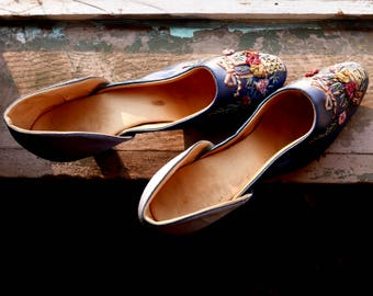 Antique Silk Ribbon Work Embroidered Shoes
