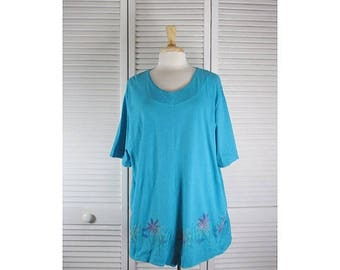 ON SALE That a Way Tunic Top- Turquoise Blue w/ Abstractions XL Ready to Ship