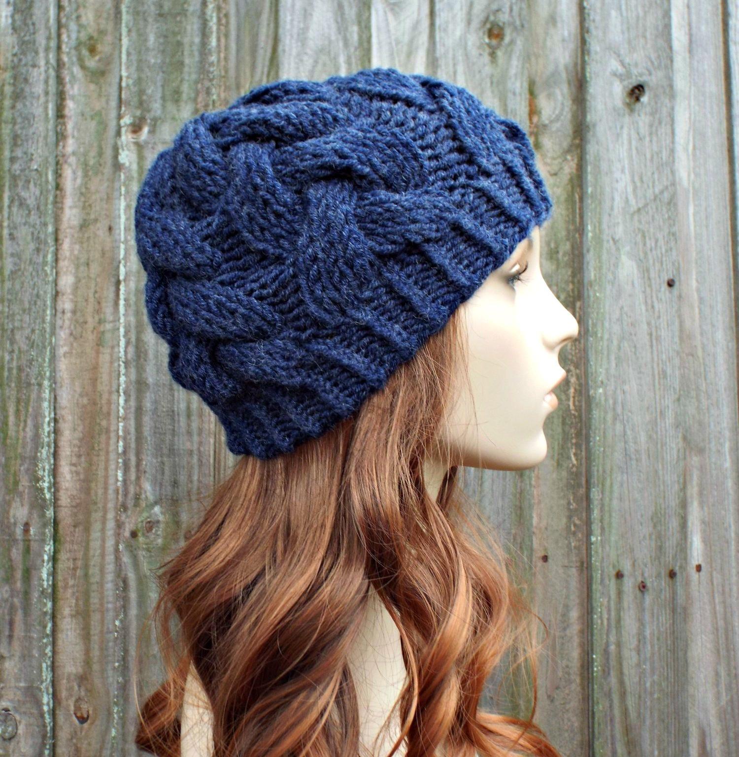 Women s Beanie Knitting Pattern : Instant Download Cable Beanie Knitting Pattern - Knit Hat ...