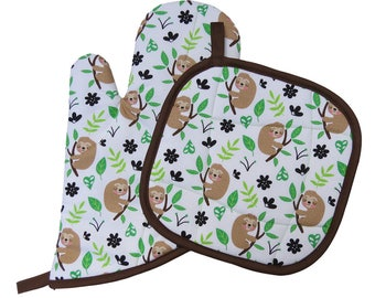Sloths Oven Mitt and Pot Holder Set
