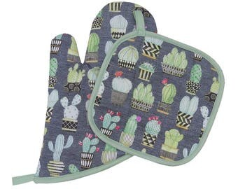 Cactus Plants Oven Mitt and Pot Holder Set