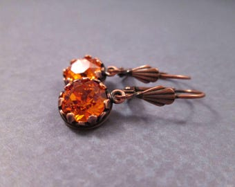 Rhinestone Earrings, Tangerine Crystal and Copper Dangle Earrings, FREE Shipping U.S.