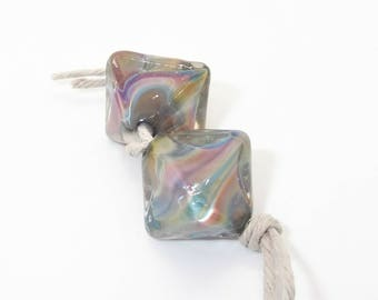 Crystal Clear Encased Silver Glass Crystal Shaped Lampwork Glass Crystal Beads - Prima Donna Beads