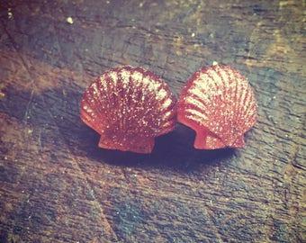 Pink Glitter seashell earrings