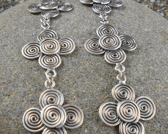 Spiral Earrings ~ Long Shoulder Duster Dangle 3.25 inches ~ Vintage Sterling ~ circa 1970's